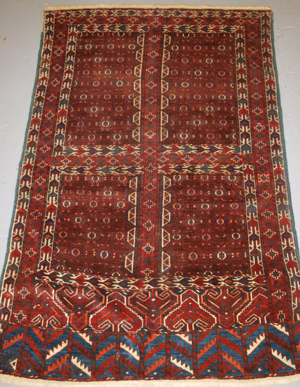 antique yomut turkmen ensi yurt door hanging superb colour 2nd half 19th century