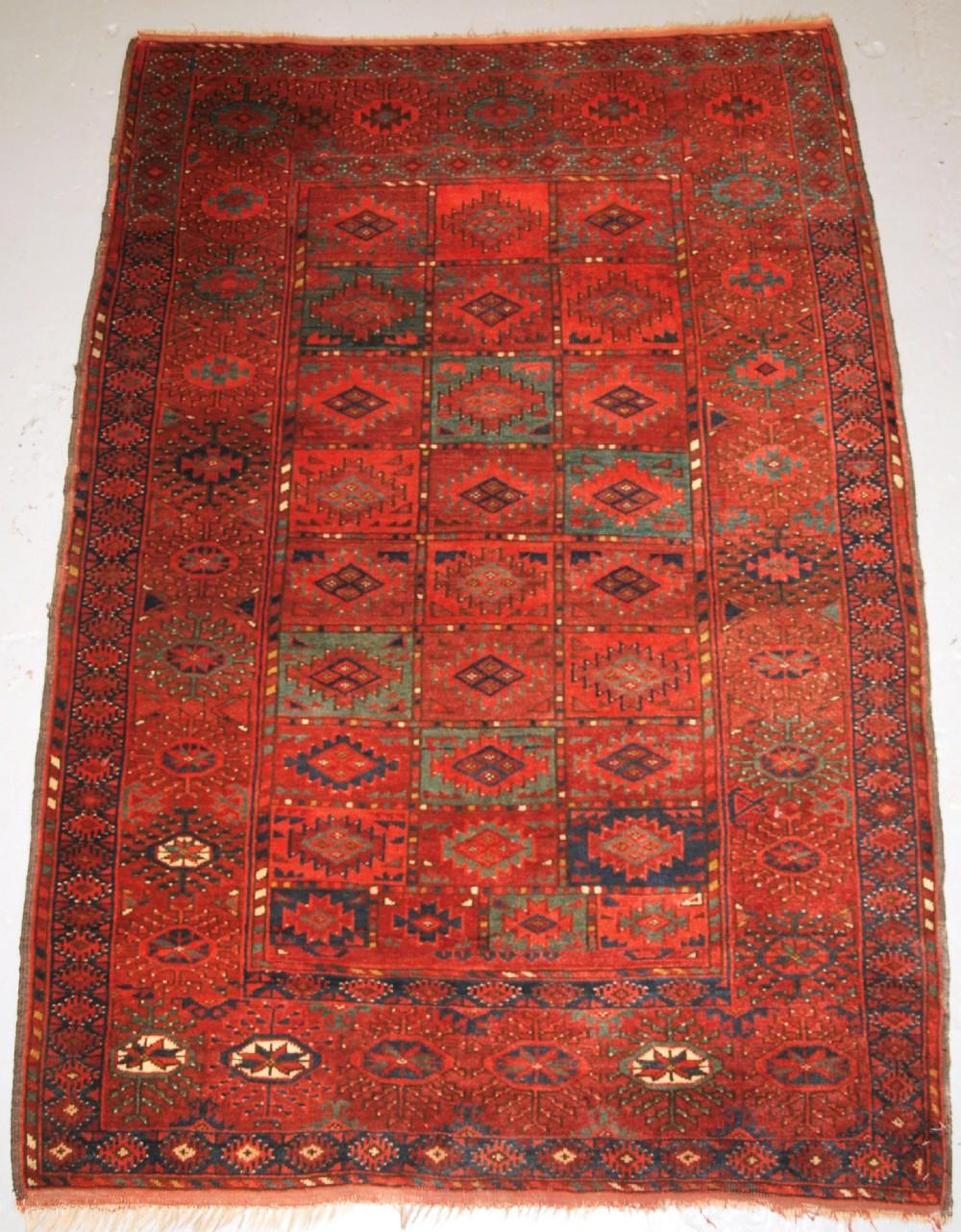 antique ersari turkmen dip khali dowry rug of small size superb green circa 1900