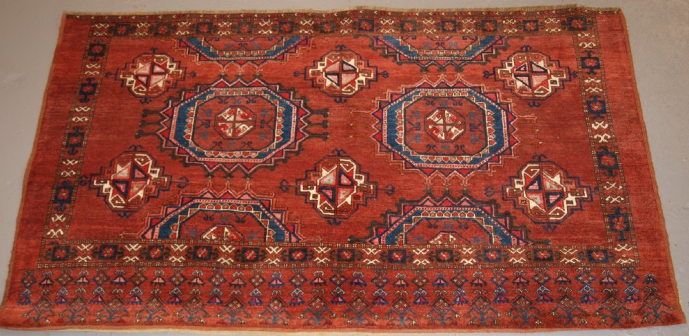 antique ersari turkmen chuval of large size unusual design with silk high lights late 19th century 1 of pair