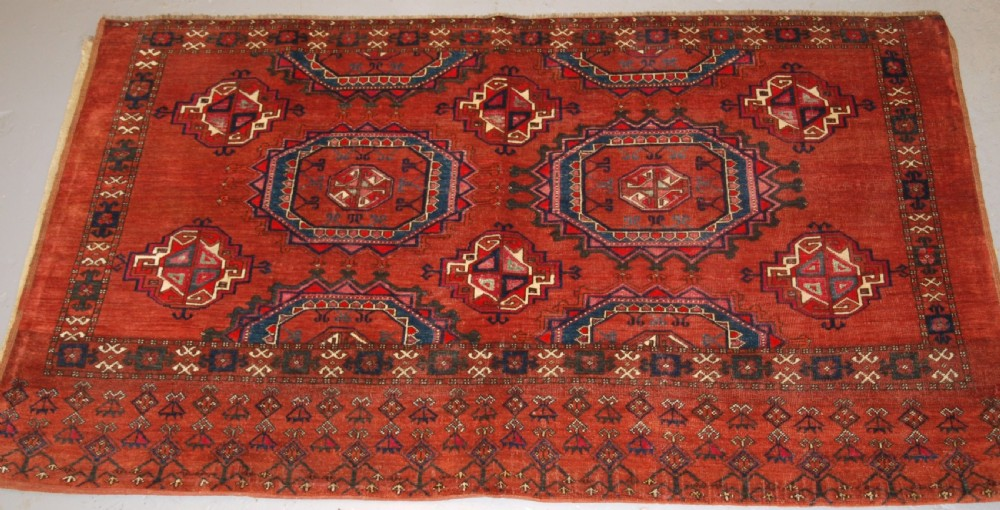 antique ersari turkmen chuval of large size unusual design with silk high lights late 19th century 2 of pair