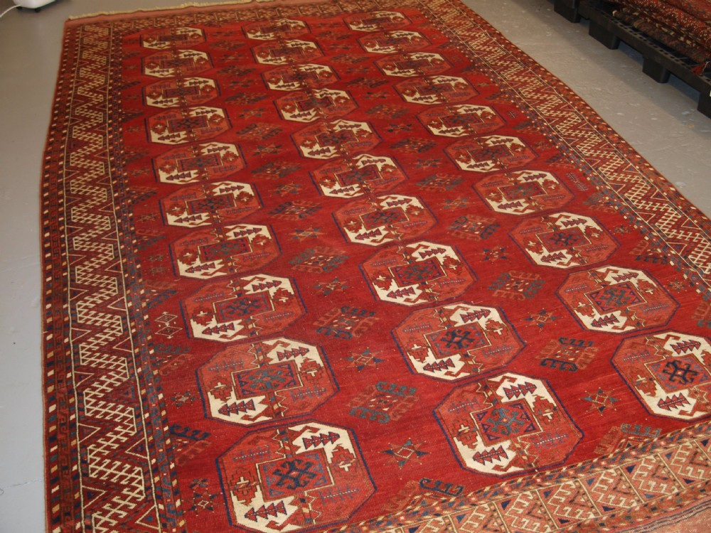 antique ersari kizil ayak turkmen main carpet superb colour and condition late 19th century