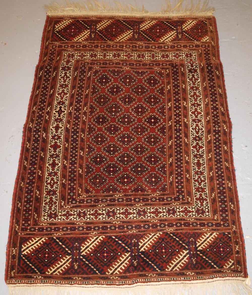 antique yomut turkmen rug star border superb condition circa 190020