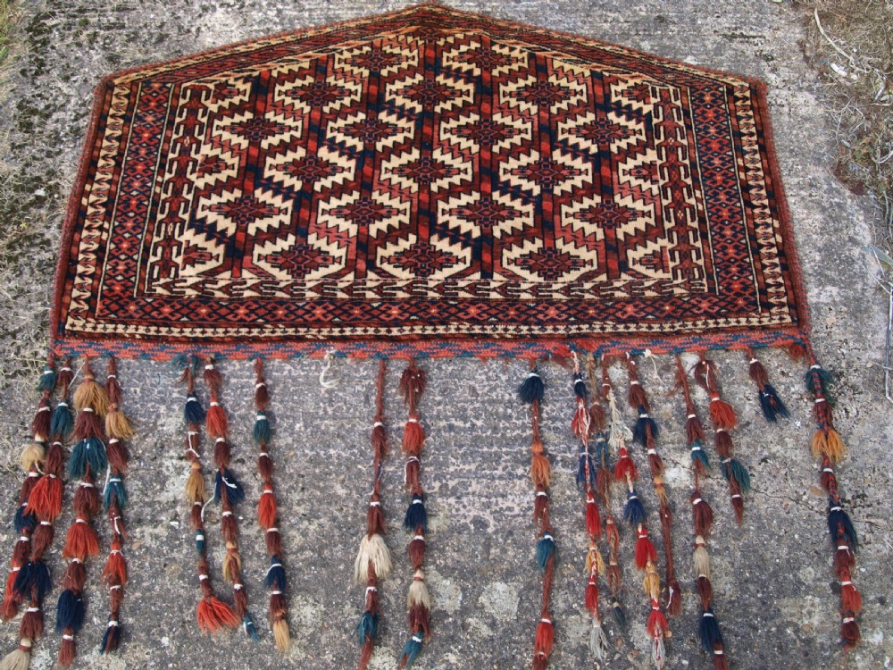 antique yomut turkmen asmalyk full pile with tassels circa 1900