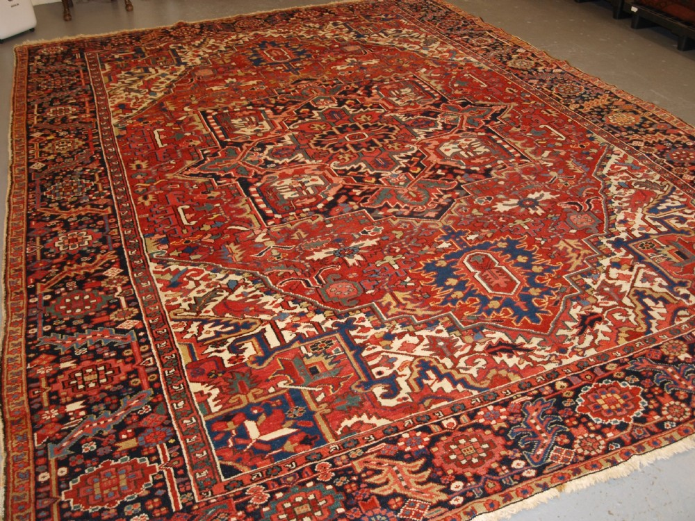 antique persian heriz carpet with superb colours square size ideal furnishing carpet circa 1900