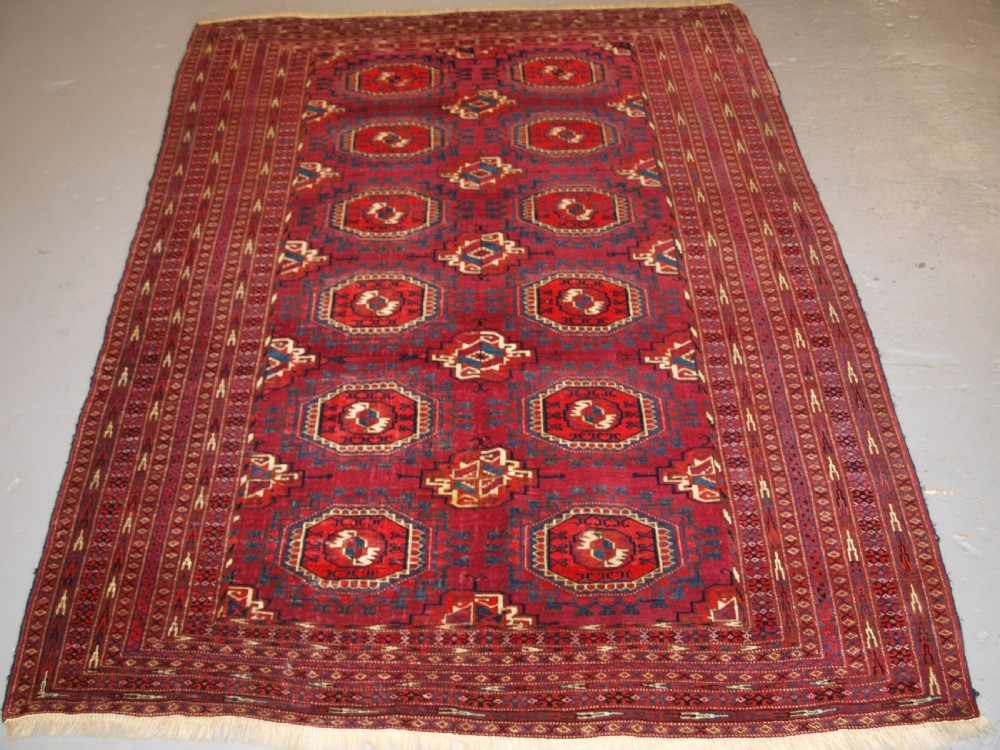 antique tekke or saryk turkmen rug cochineal dyes beautiful colours circa 1890