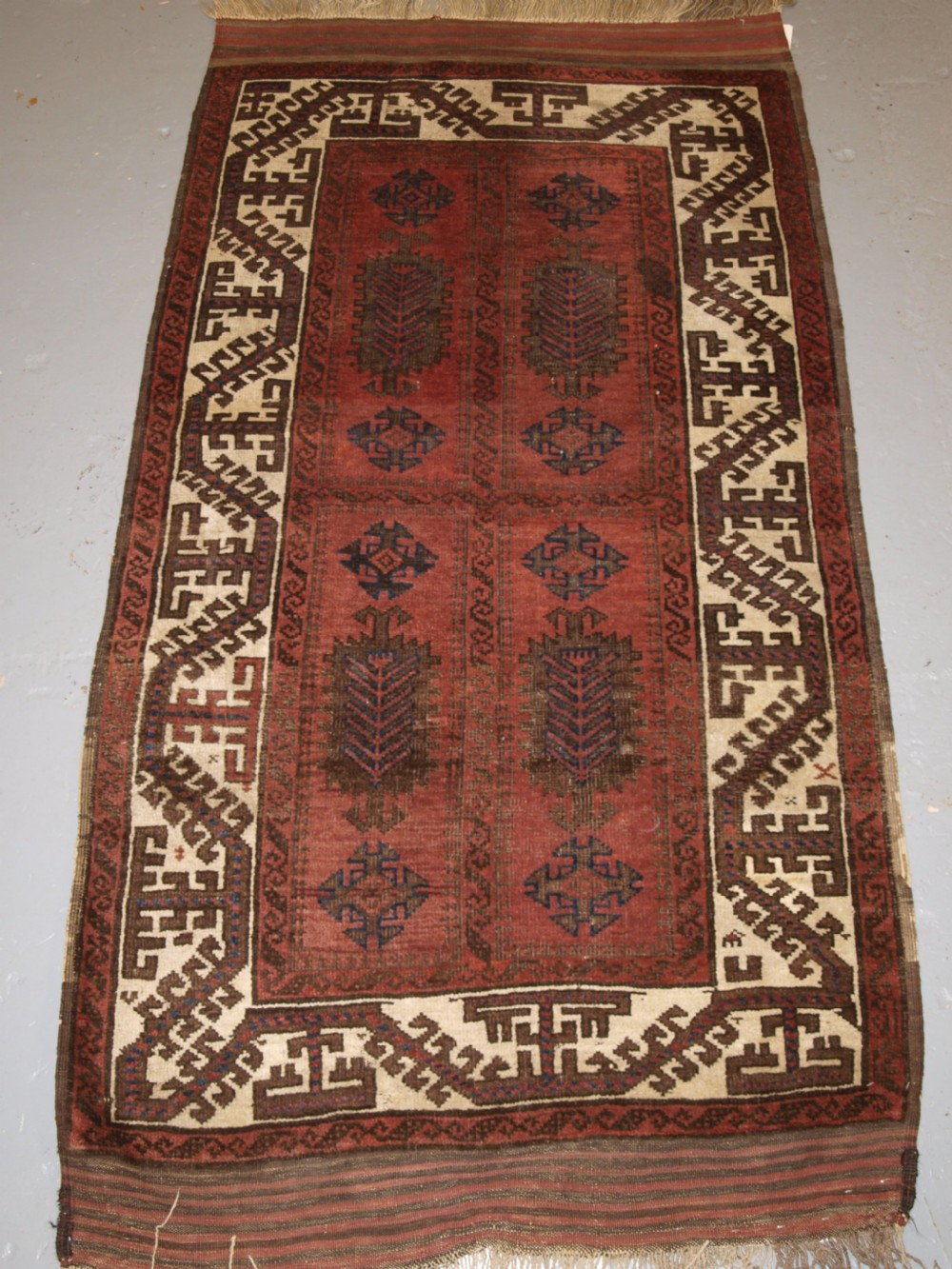 antique baluch rug possibly timuri large scale design white border 2nd half 19th century