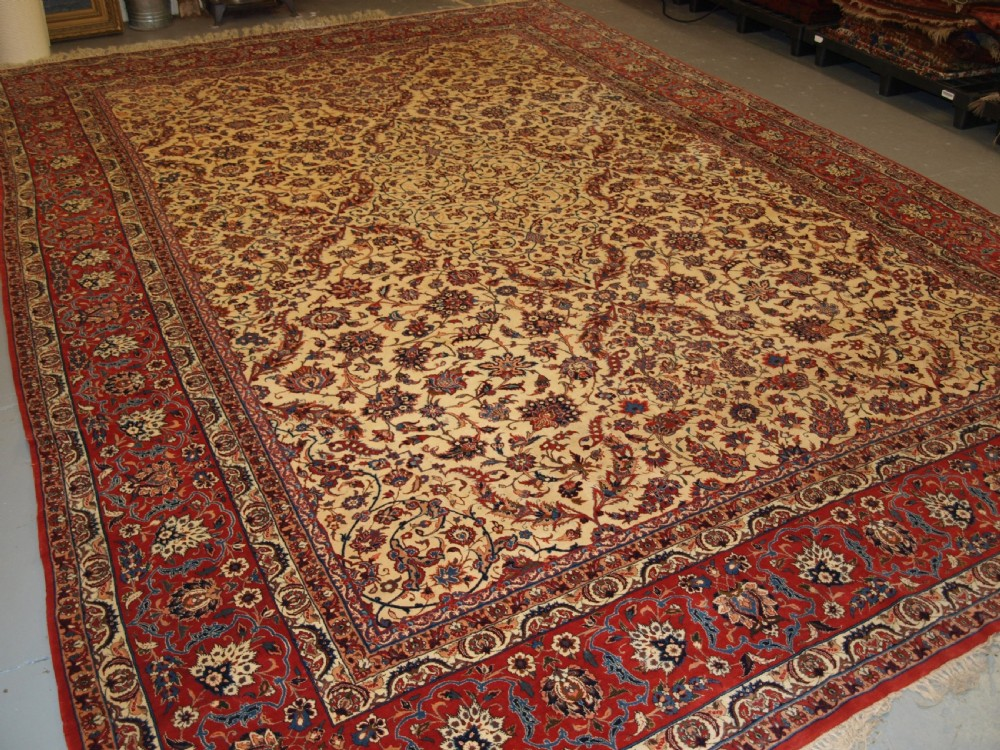 old persian isfahan carpet superb all over design very fine weave wool on silk foundation perfect condition circa 1950