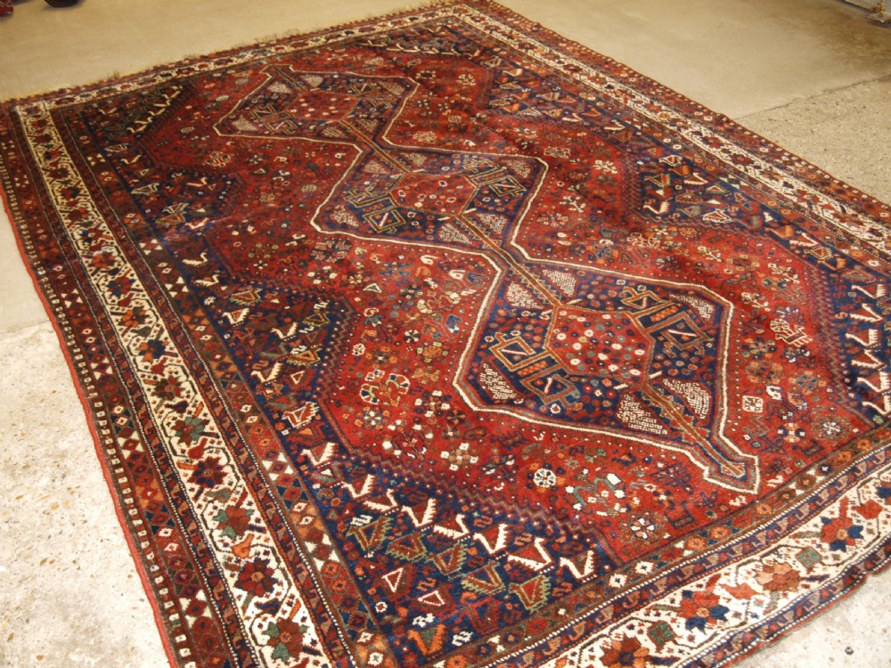 old south west persian shiraz region triple medallion carpet with tribal design great condition circa 1920