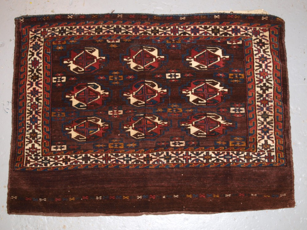 antique yomut turkmen 9 gul chuval with plain weave back late 19th century