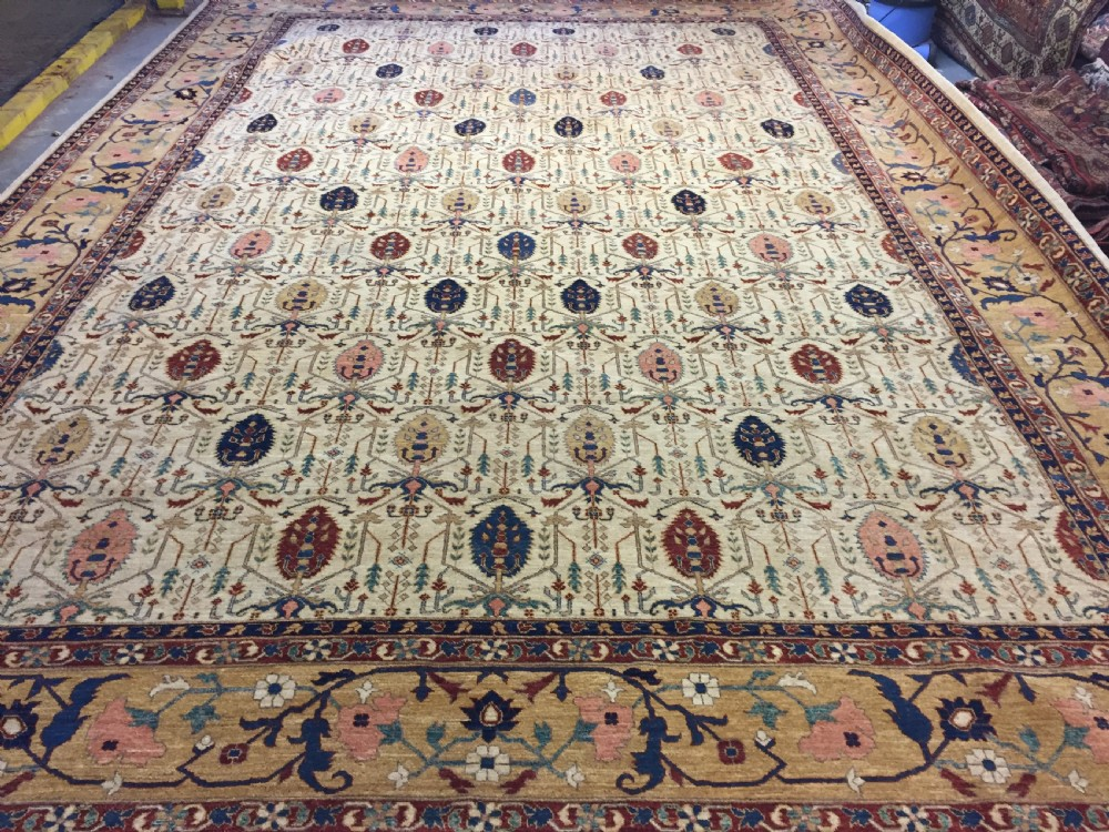 outstanding copy of a 19th century persian carpet with all over shrub design unused perfect condition