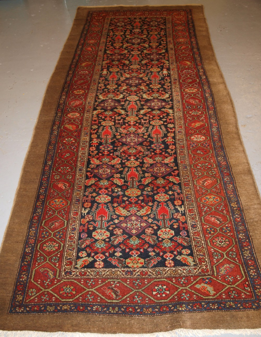 antique north west persian long rug superb design and colour circa 1900