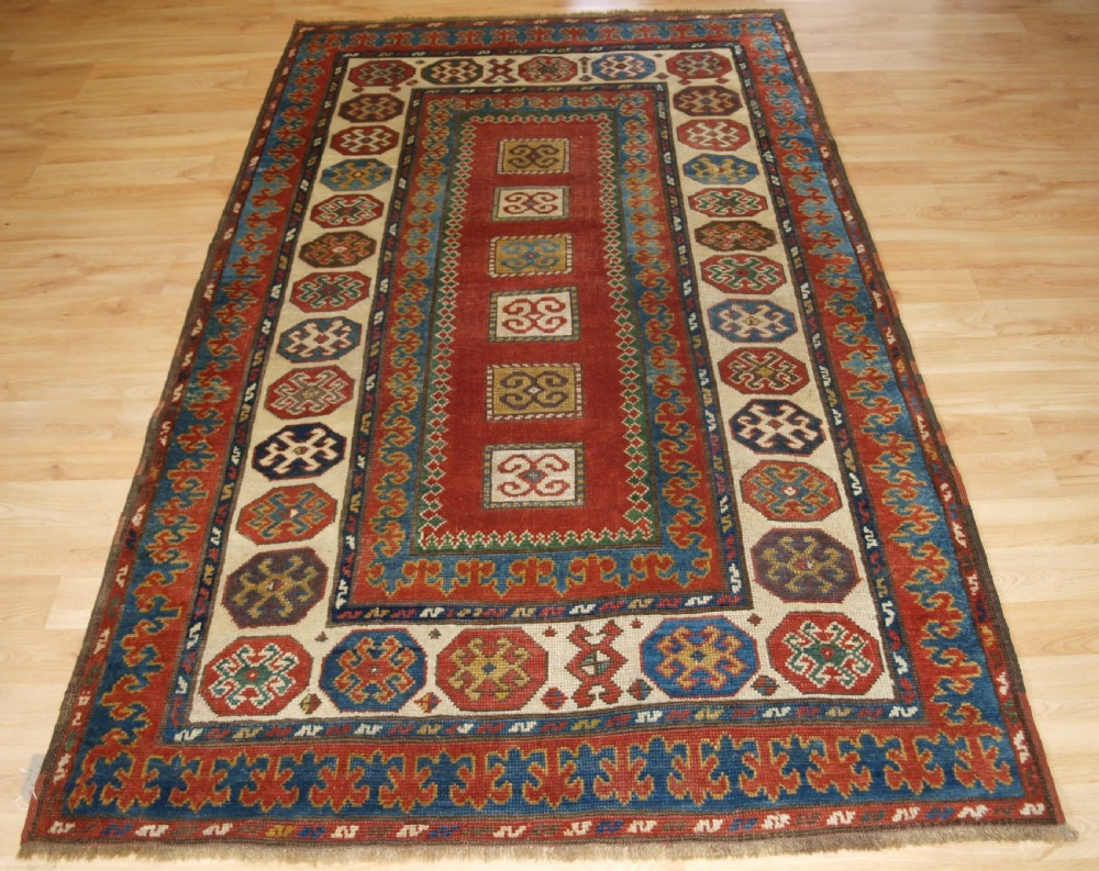 antique caucasian kazak rug of compartment design bordjalou area circa 1890
