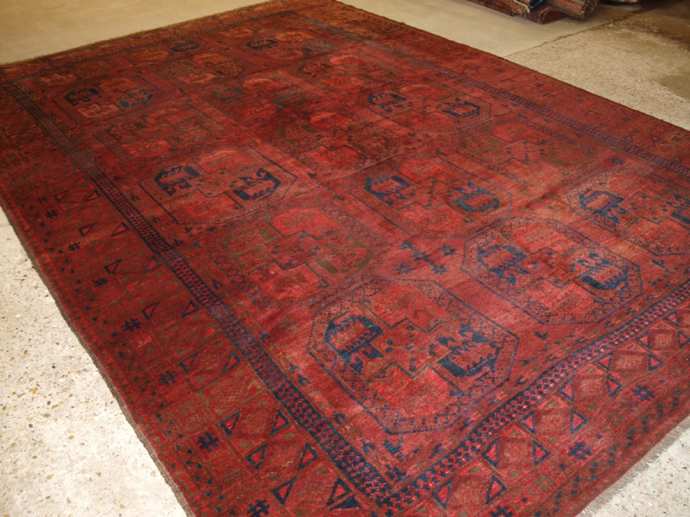 antique afghan village carpet ersari weavers superb colour circa 1900