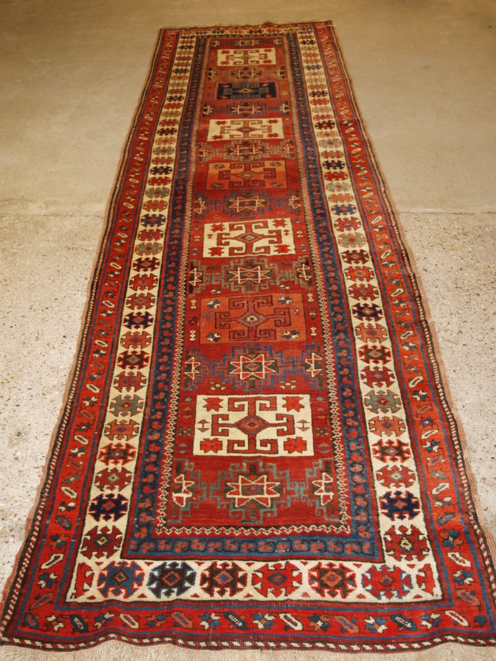 antique north persian kurdish runner with boxed medallion design circa 1900