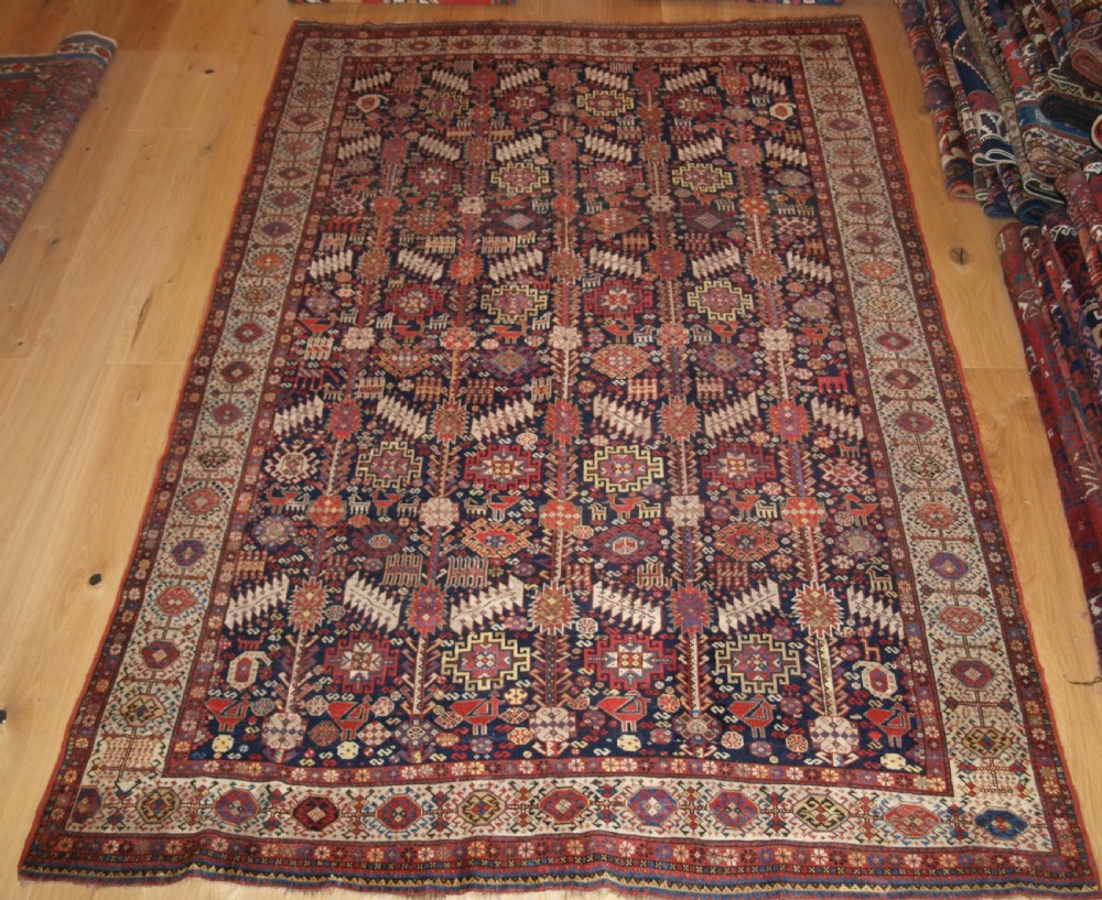 antique south west persian tribal shekarlu qashqai rug very fine weave great colour circa 1880