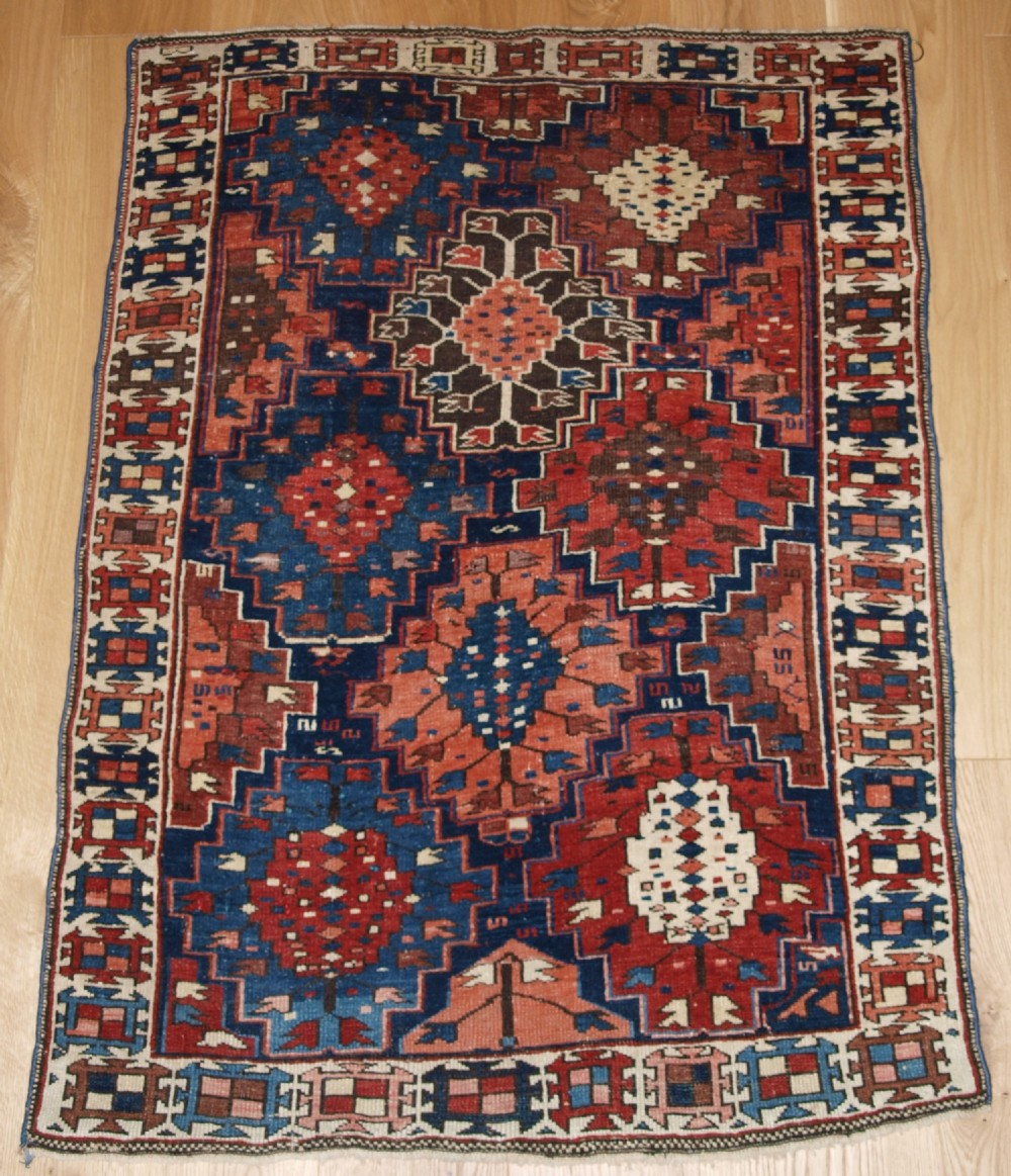 antique caucasian rug of small size and scarce design kuba region late 19th century