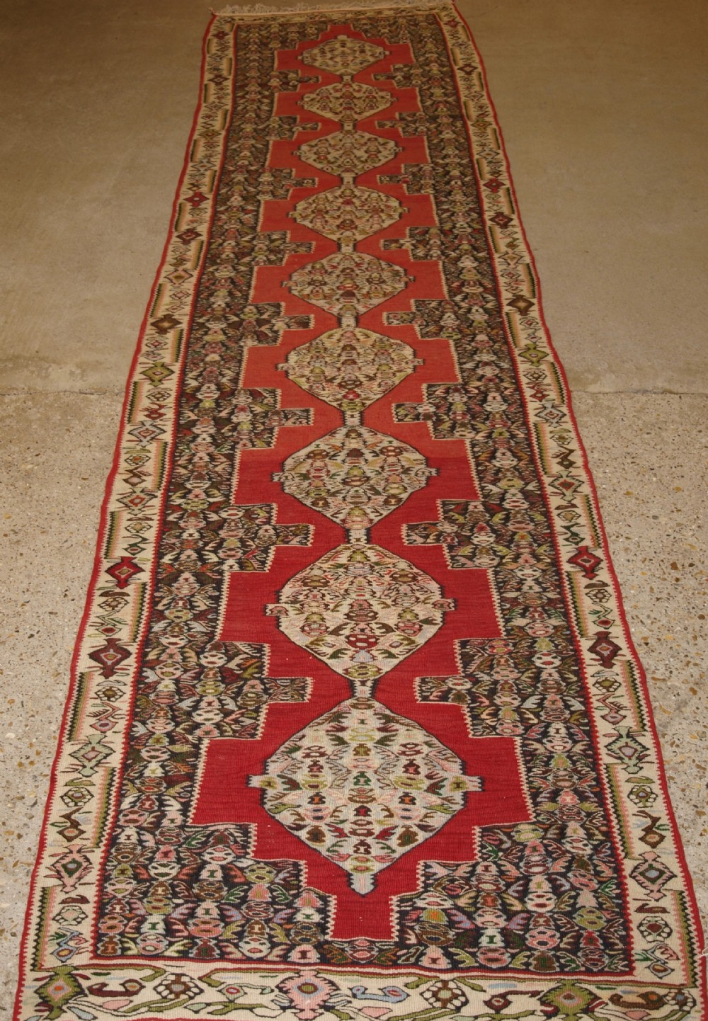 old persian senneh kilim runner linked medallion design excellent condition circa 1920