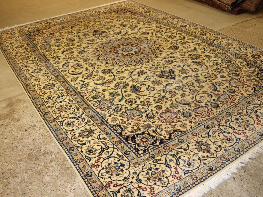 old persian nain carpet wool and silk perfect condition about 30 years old
