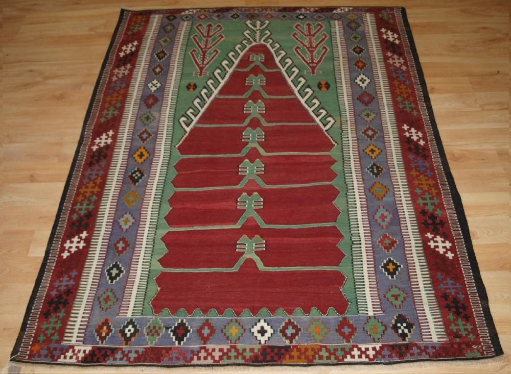 old turkish obruk prayer kilim of traditional design excellent condition circa 1920