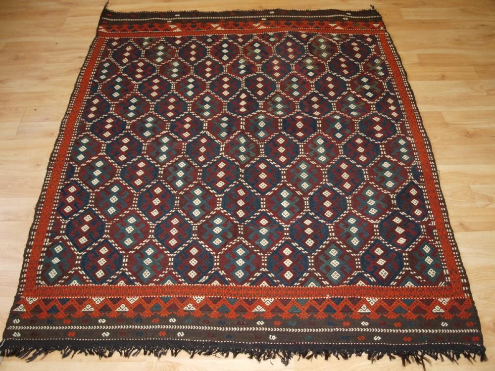 old turkish flat weave in cicim technique bergama region circa 1920