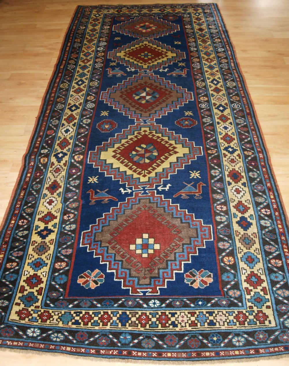 antique caucasian kazak long rug repeat medallion design superb condition circa 1900
