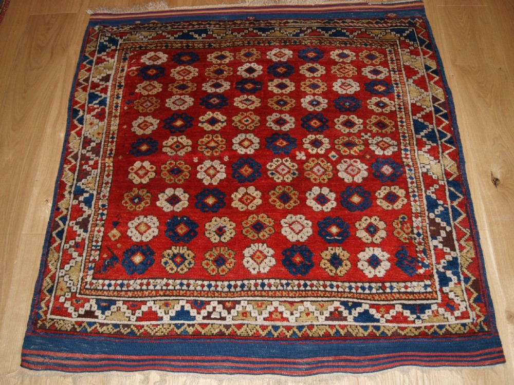 antique turkish bergama rug all over floral design 2nd half 19th century