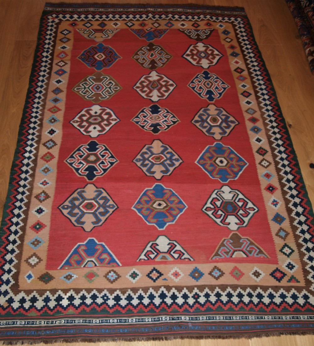 antique south west persian qashqai kilim with superb colour and design circa 1900