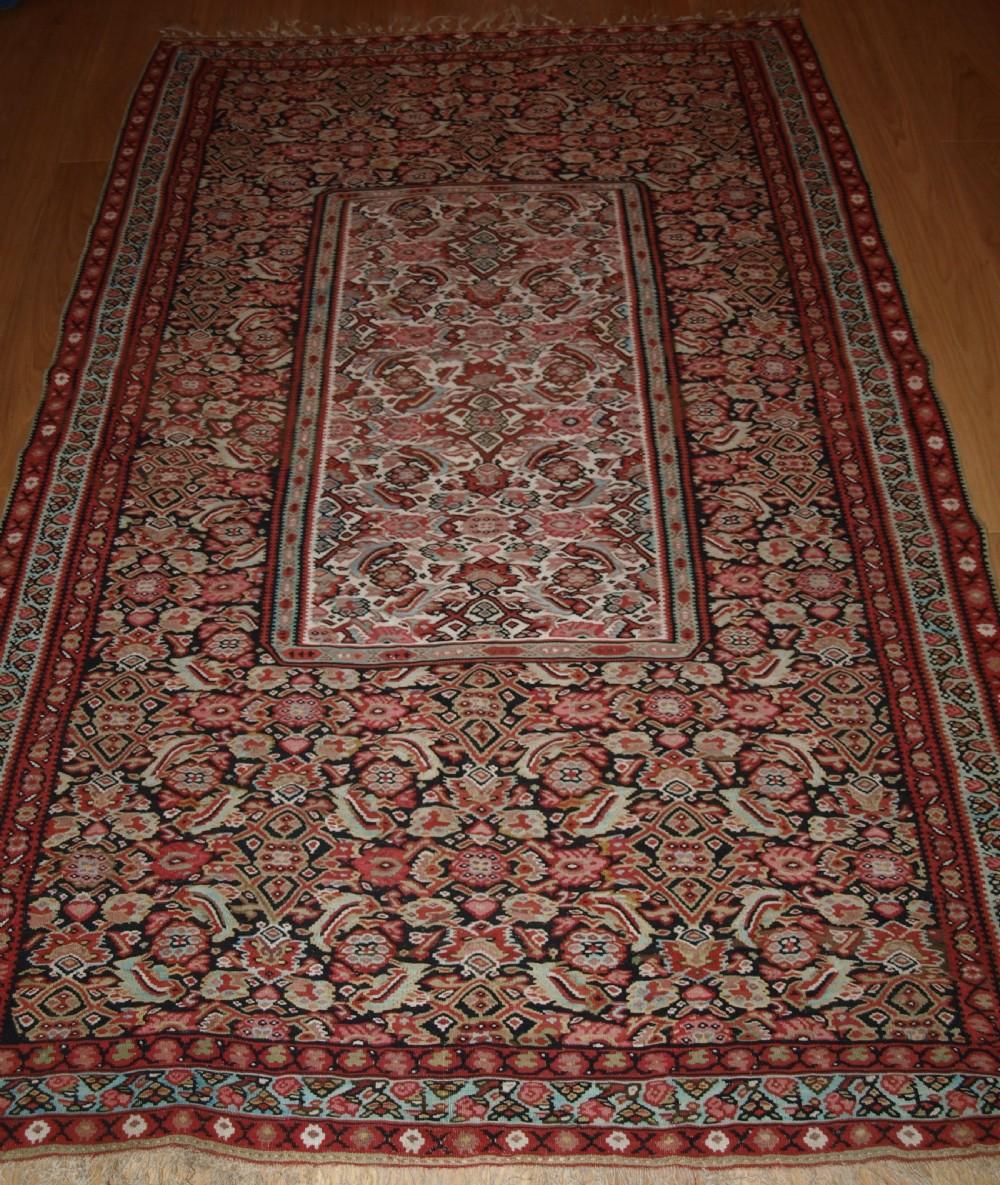 antique persian senneh kilim with scarce design superb condition circa 1900