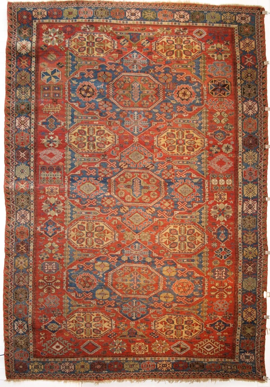 antique caucasian three medallion soumak carpet of rare design superb colour circa 1880