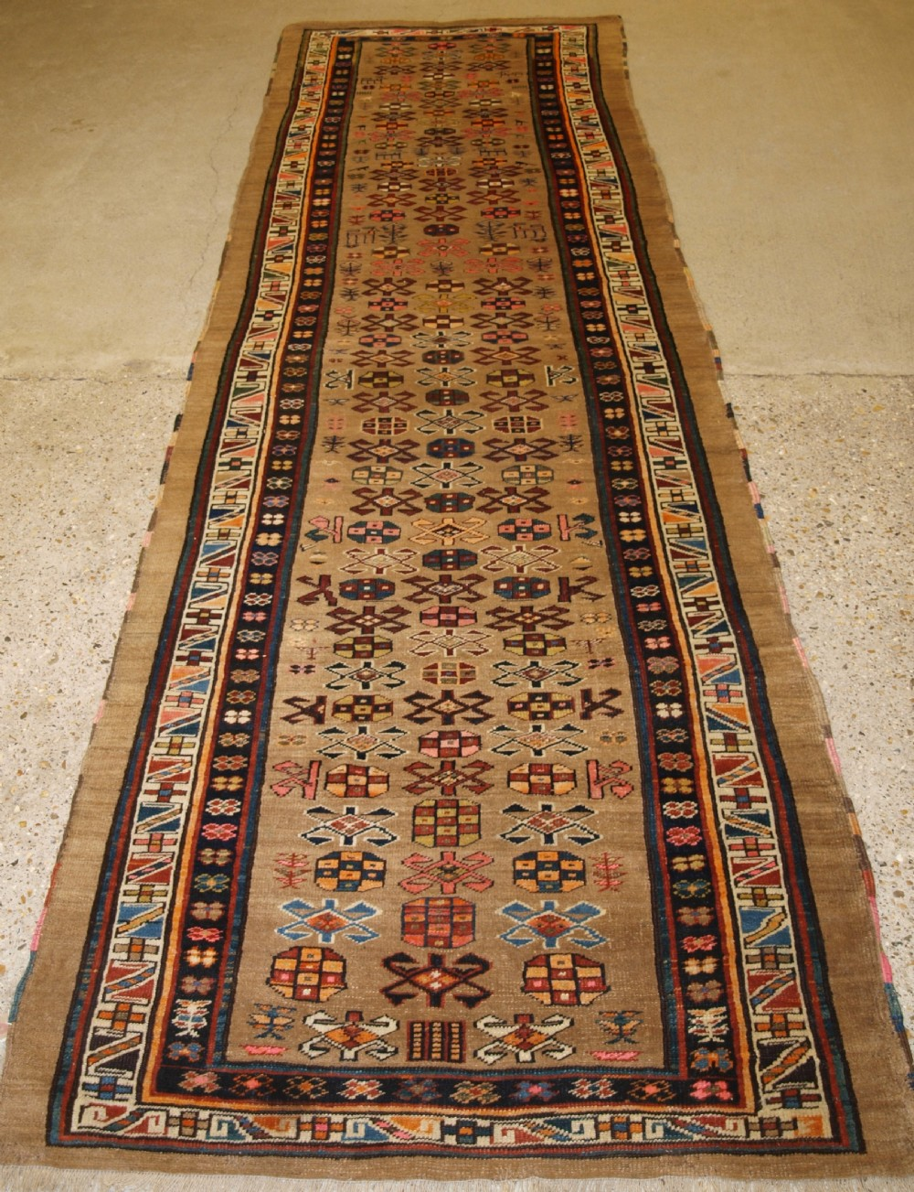 antique north west persian sarab runner camel wool ground with animals circa 1900