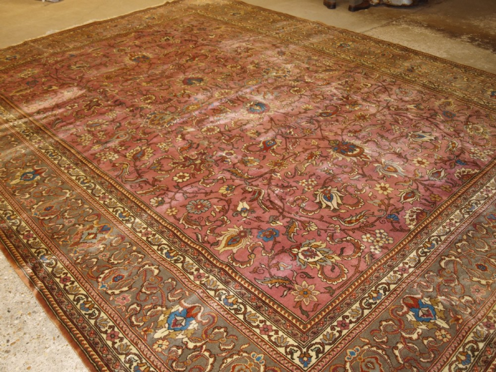 old persian tabriz carpet soft colours large size great condition circa 1950