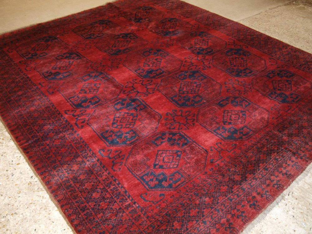 old afghan village carpet deep red almost square size circa 1920