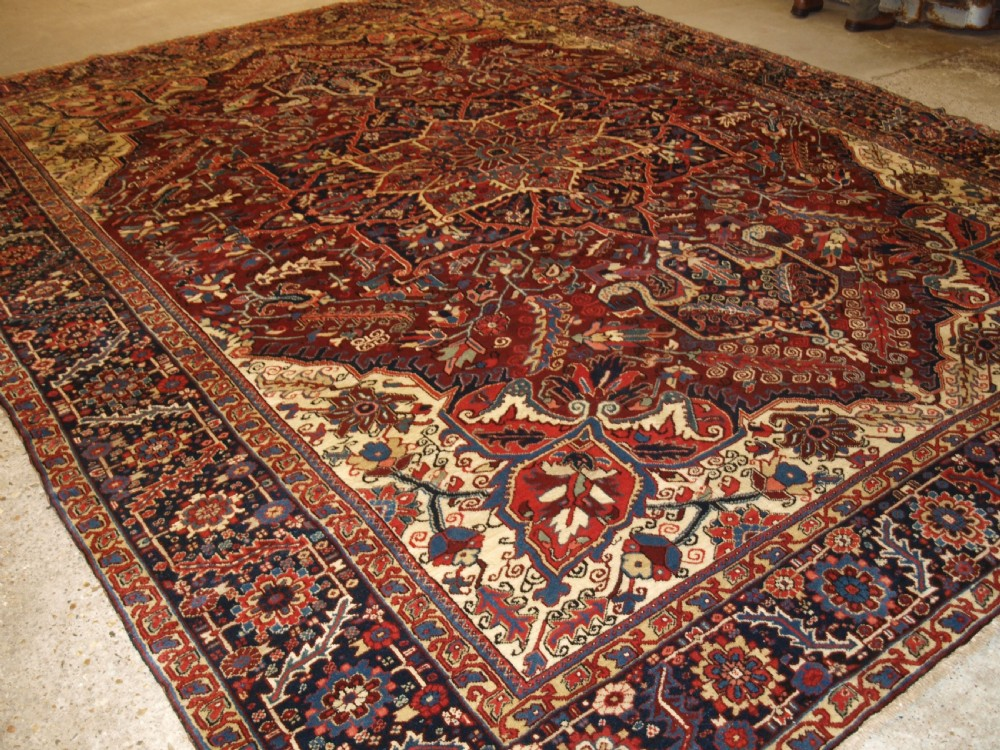 antique persian heriz carpet great condition and large size circa 1920