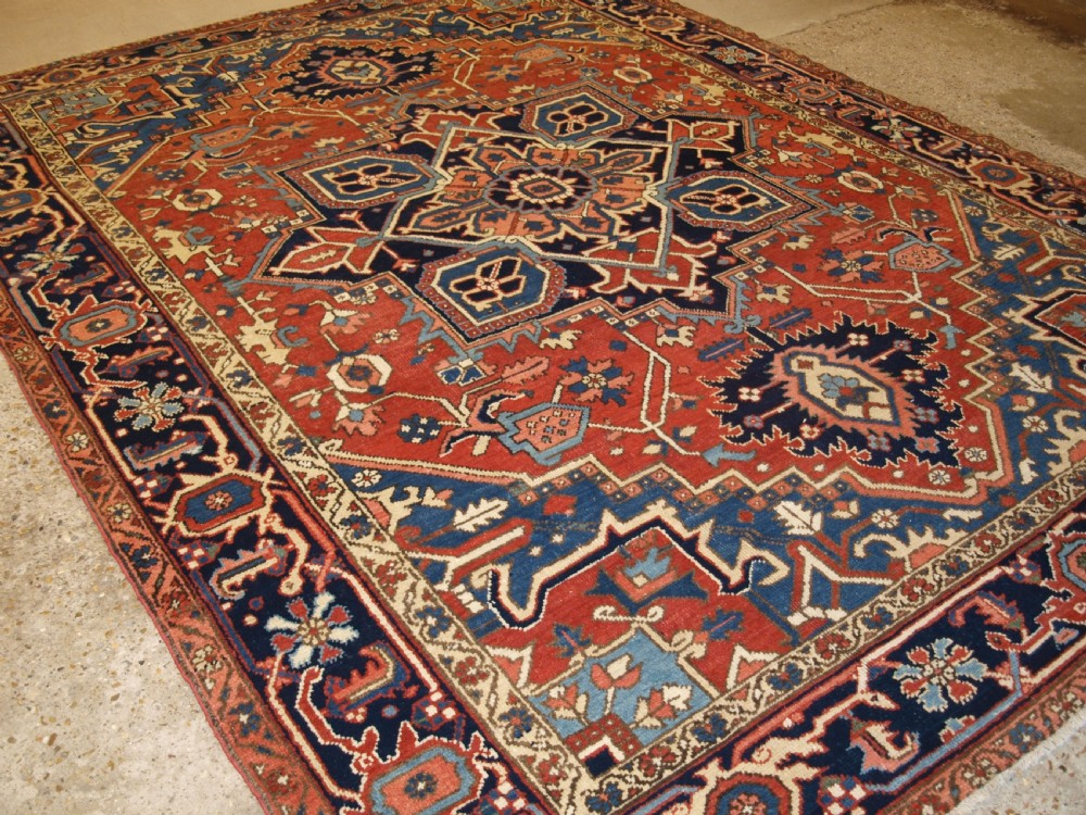 antique persian heriz carpet soft red field superb condition circa 1920