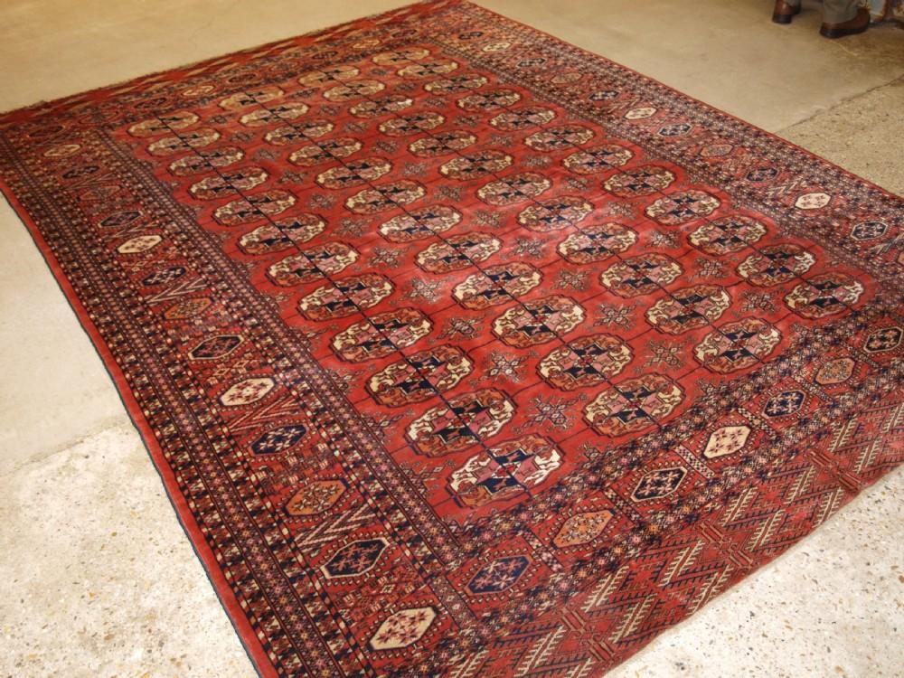 antique tekke turkmen main carpet good furnishing carpet late 19th century
