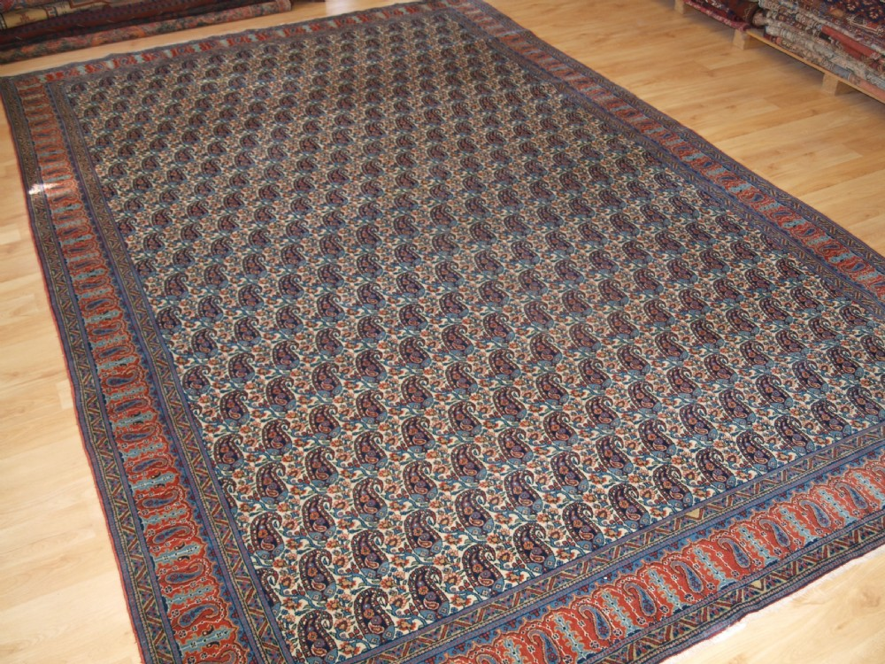 old persian qum carpet with all over boteh design excellent condition circa 1920