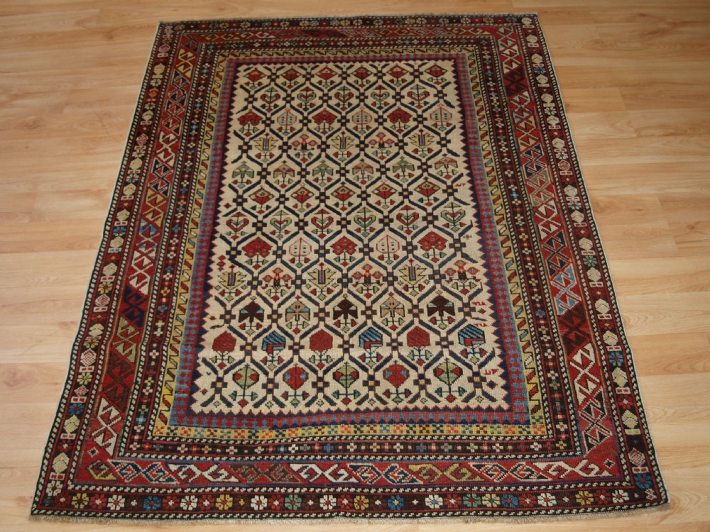 antique caucasian daghestan rug with ivory ground floral lattice superb circa 1880