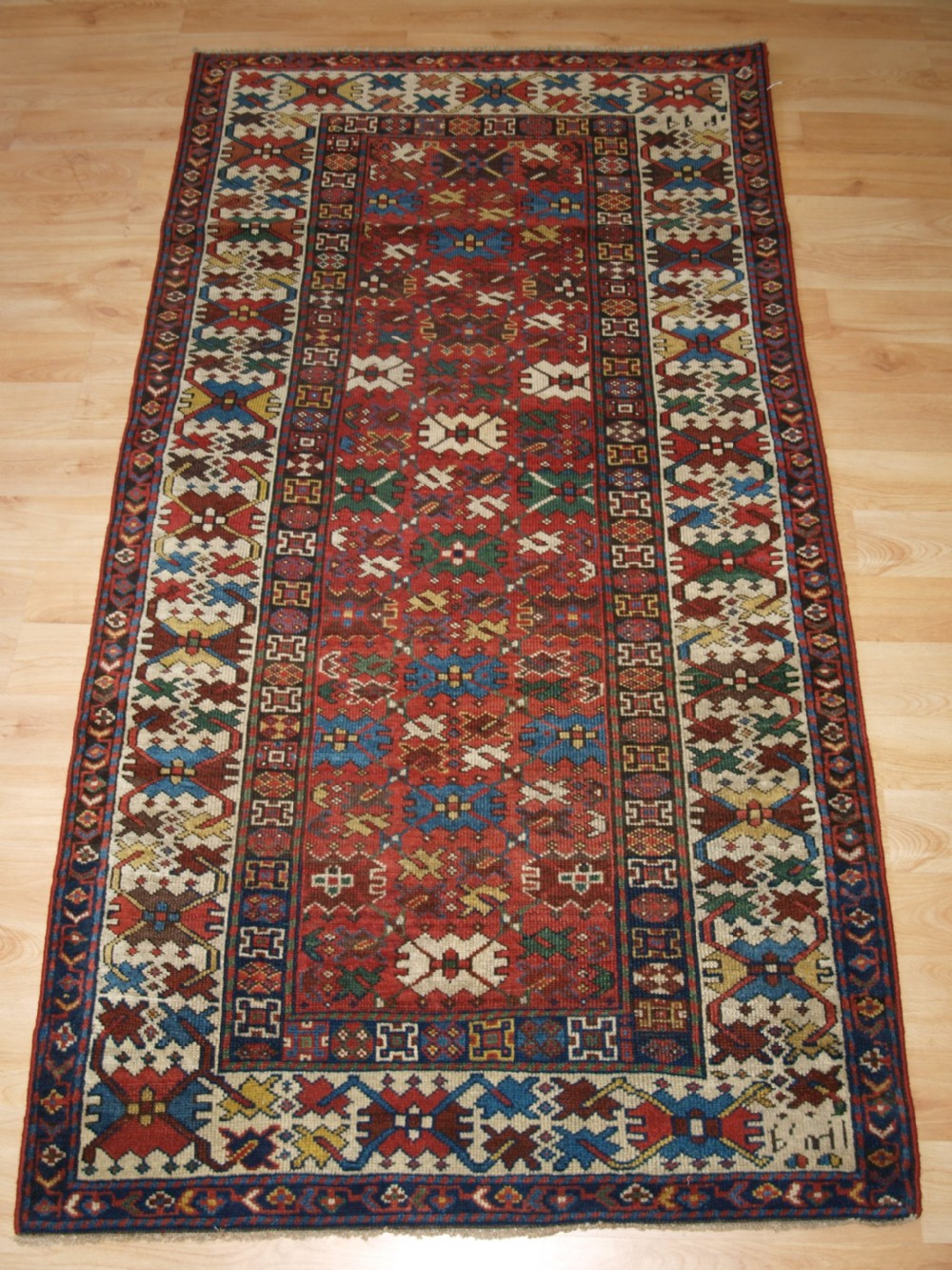 antique caucasian shirvan rug lattice design good colour dated 1306 1888
