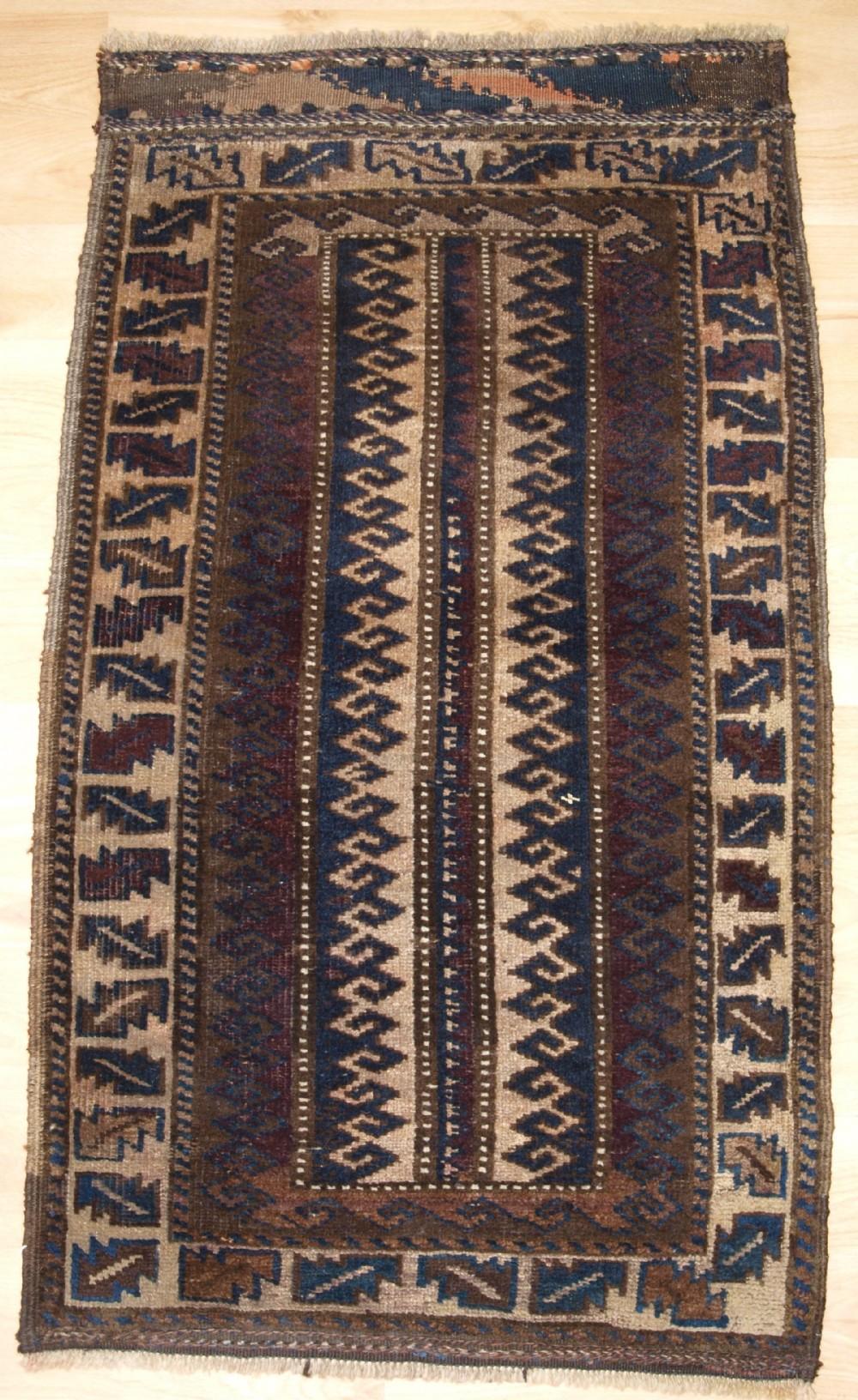 antique afghan baluch balisht grain bag face small rug circa 1900
