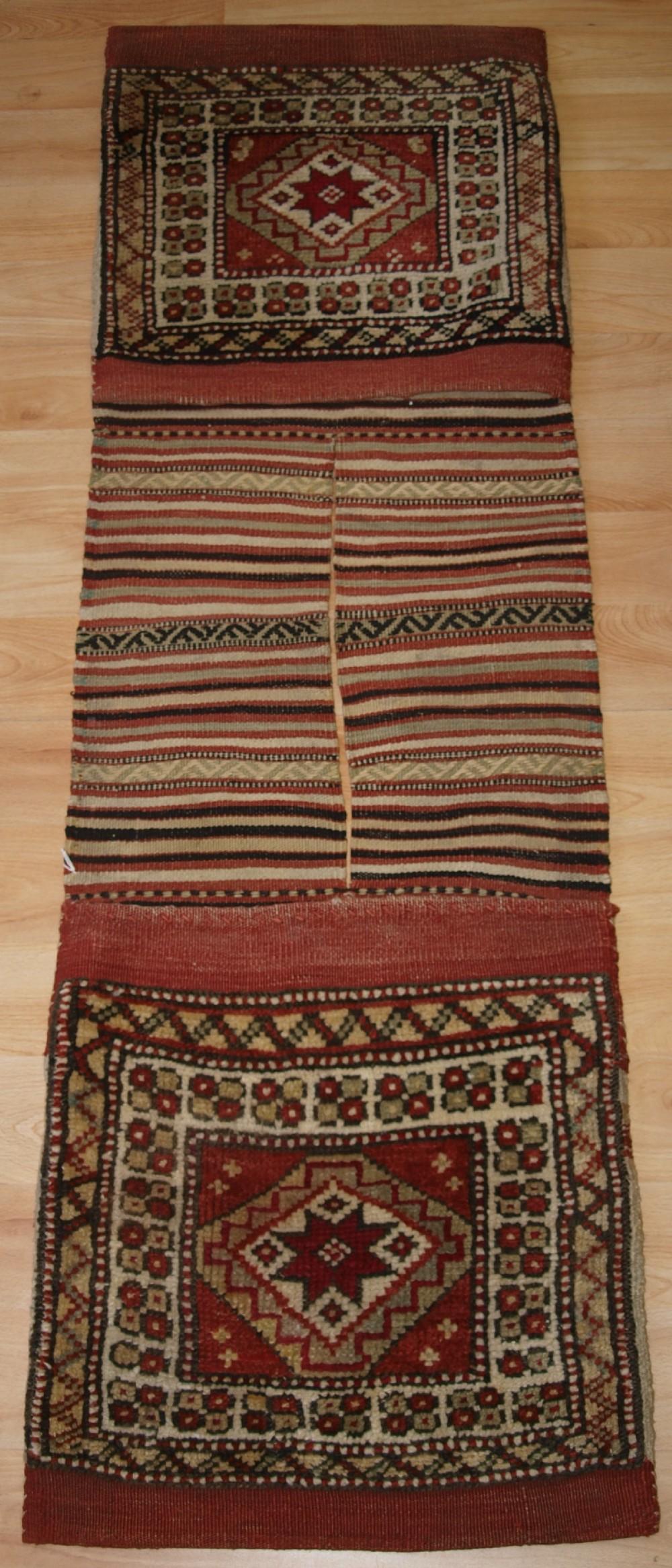 antique complete turkish bergama region heybe saddle bag outstanding condition circa 1900