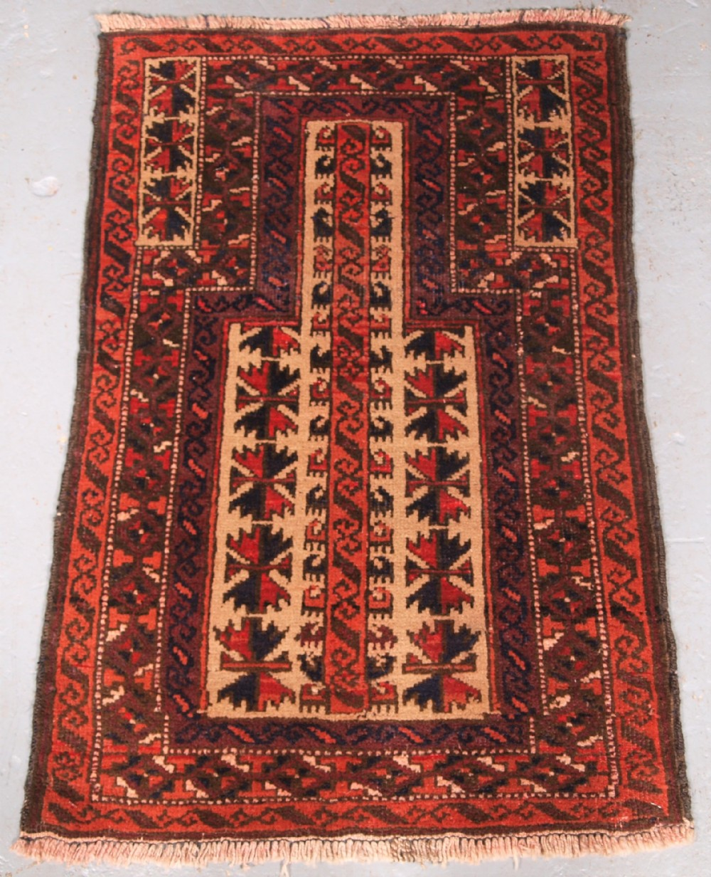 old afghan baluch childs prayer rug very sweet small rug circa 1920