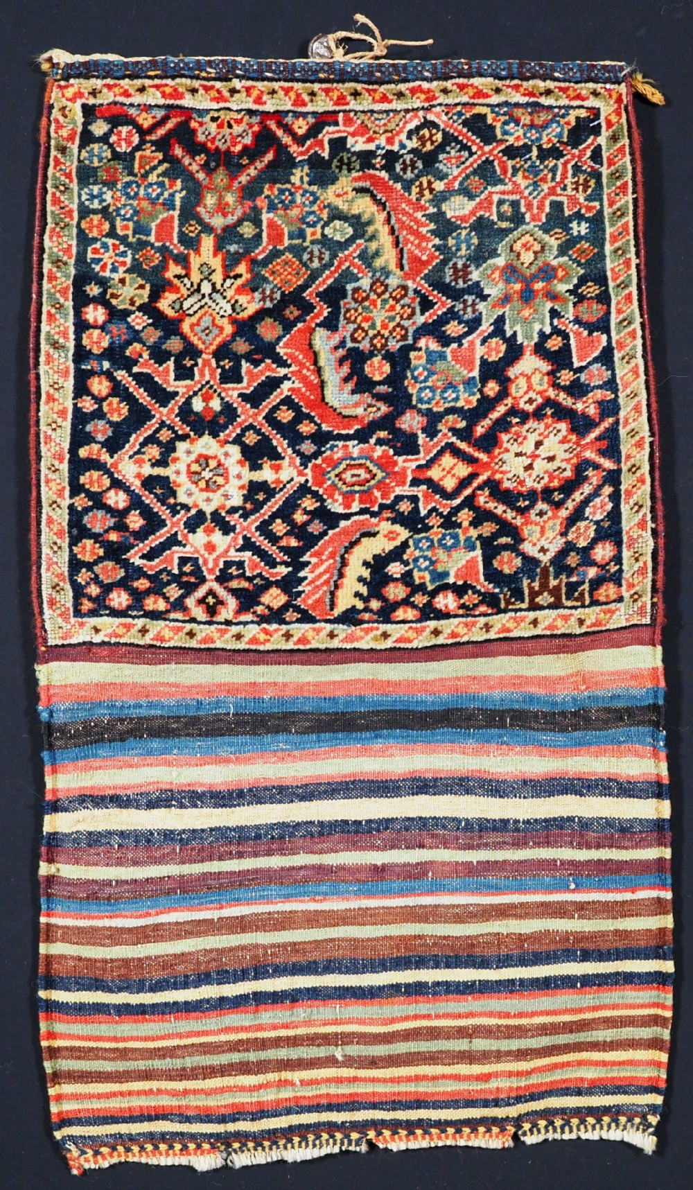 antique tribal qashqai bag herati design with striped plain weave back circa 1880
