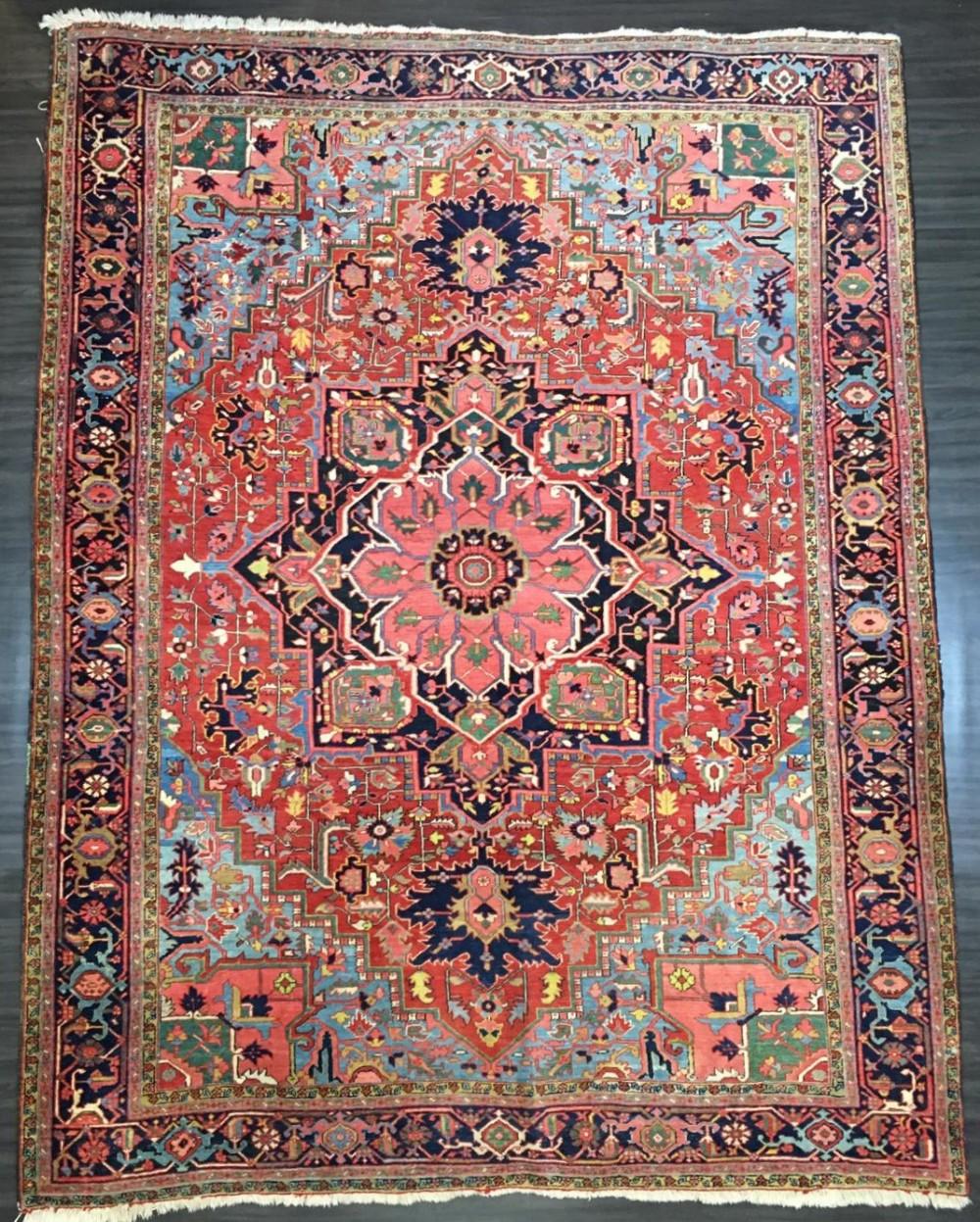 antique heriz carpet country house style great colour circa 1900