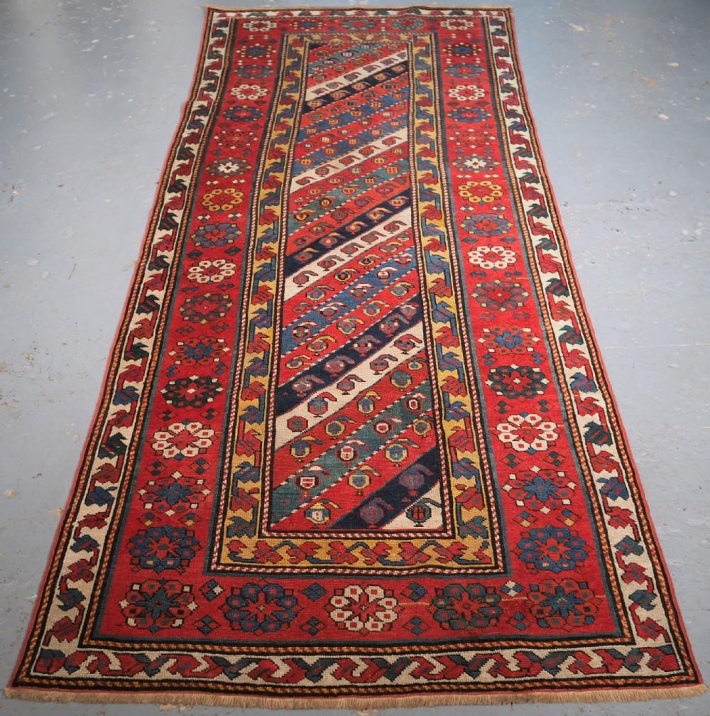 antique caucasian talish long rug with diagonal stripe design circa 1890