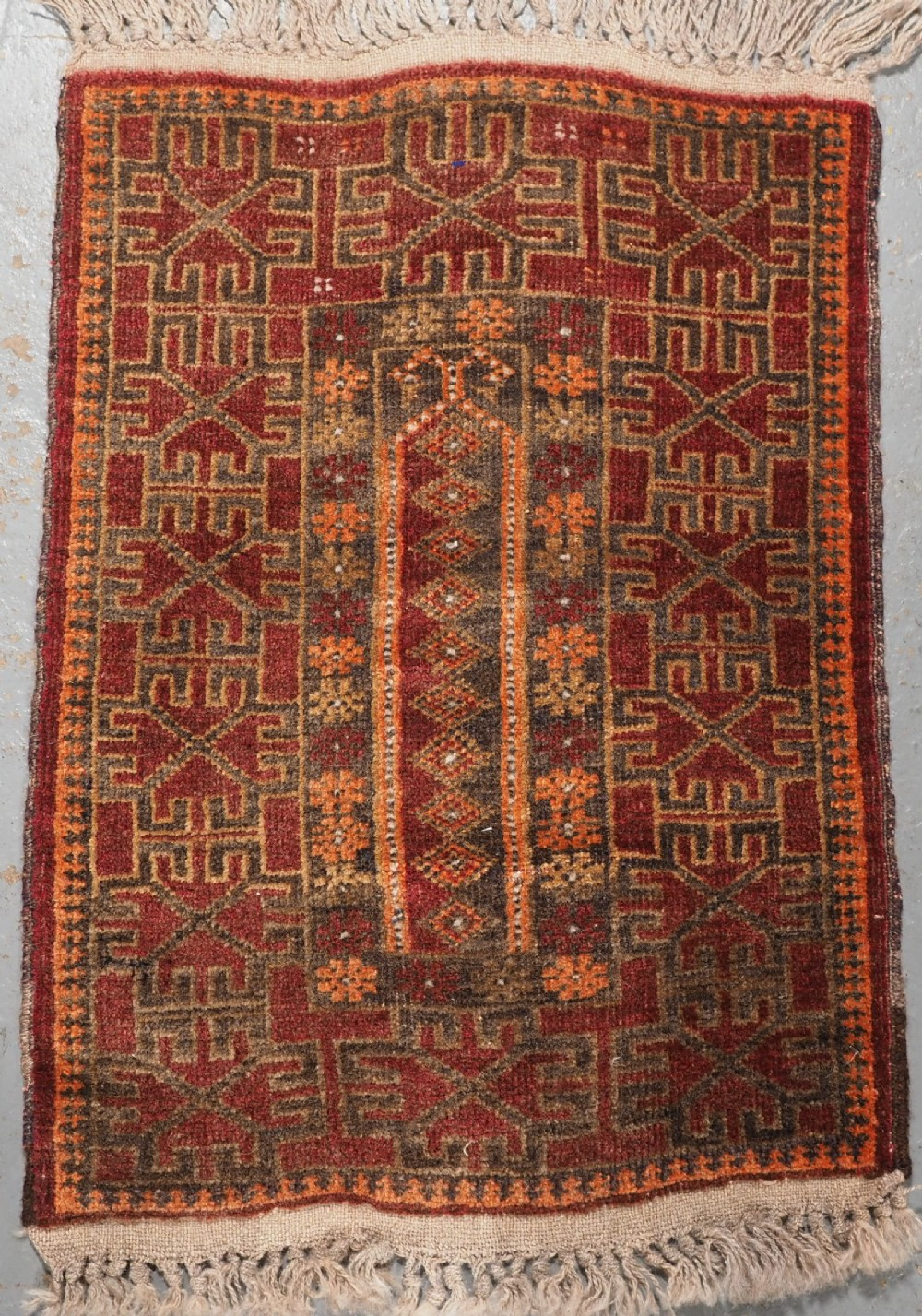 old afghan prayer rug very small size for a child circa 1920