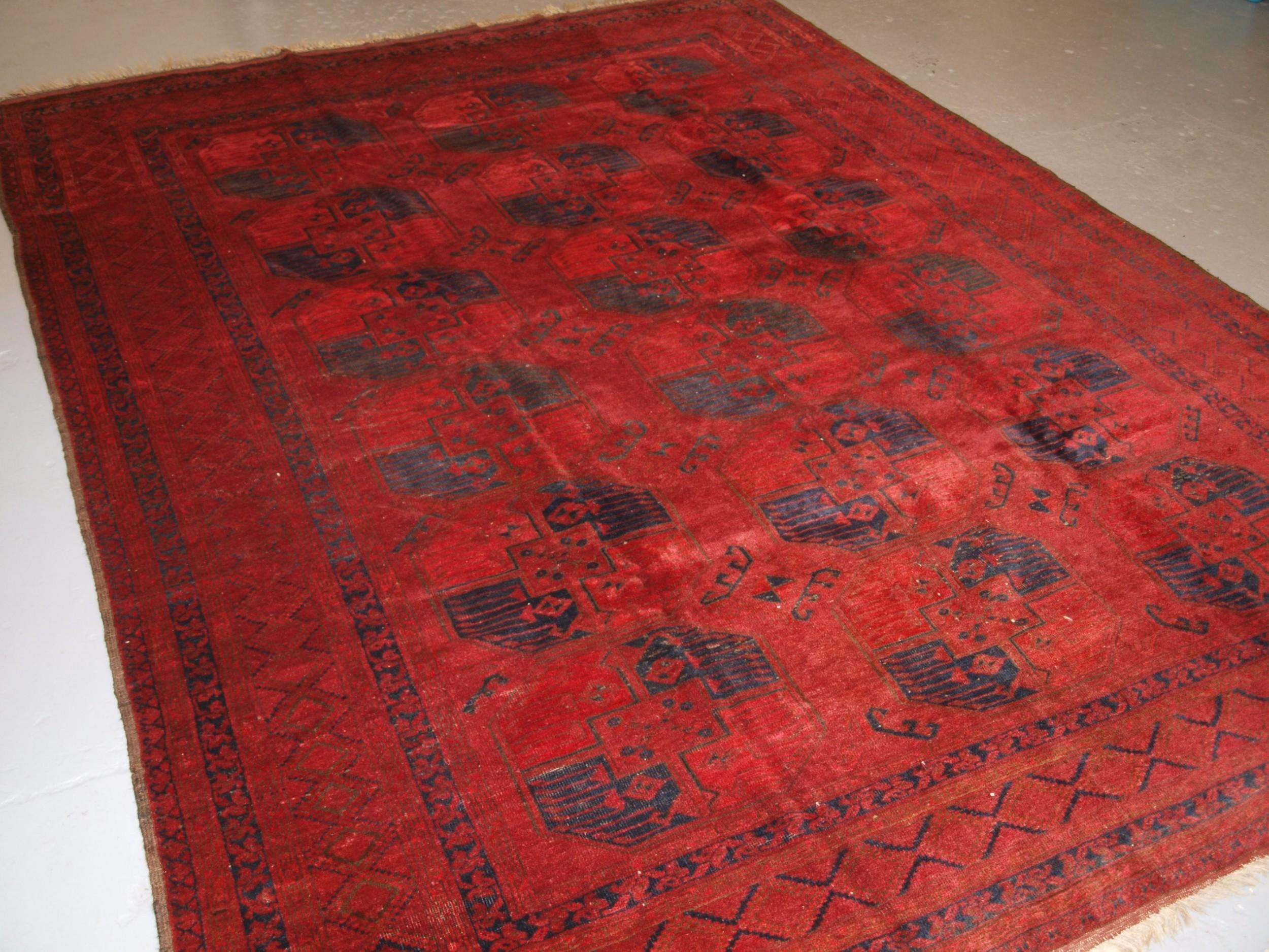 antique afghan ersari sulayman carpet excellent colour circa 1900