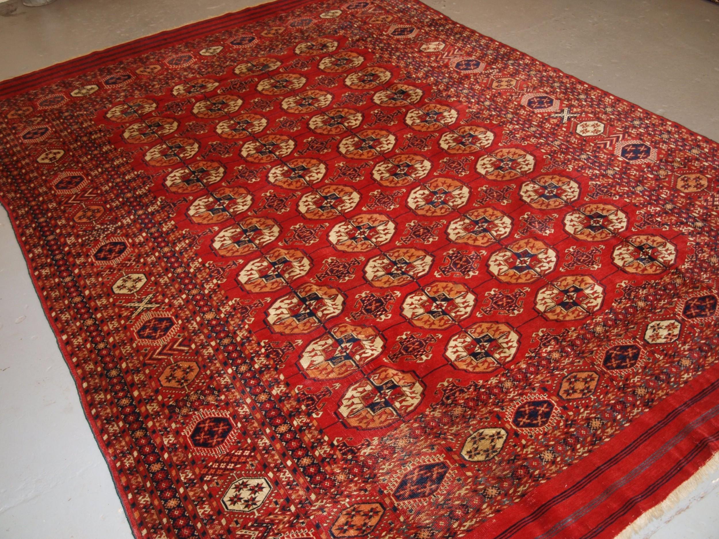 antique tekke turkmen main carpet unusual piled elem end panels 4th quarter 19th century