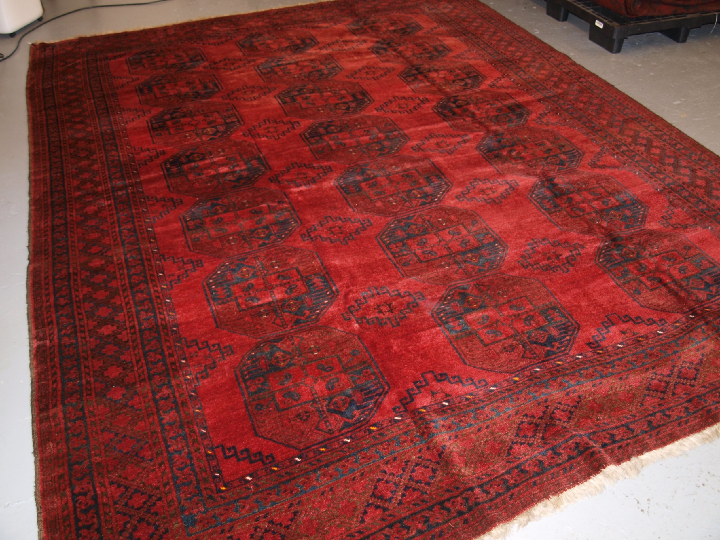 old afghan village carpet traditional design with superb colour circa 1920