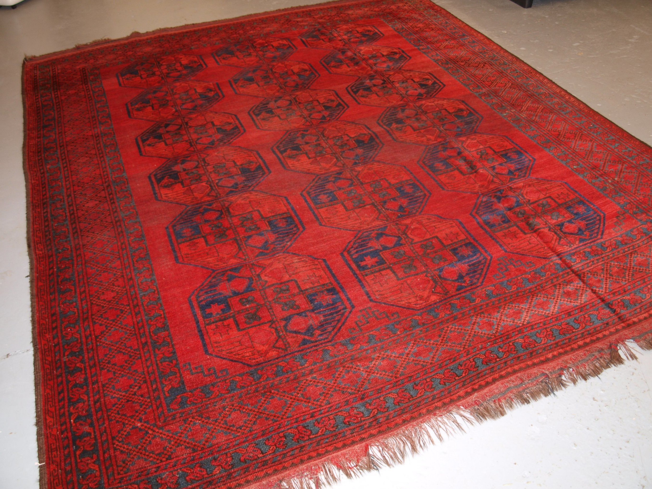 antique afghan sulayman carpet with superb colour some heavy wear circa 1890