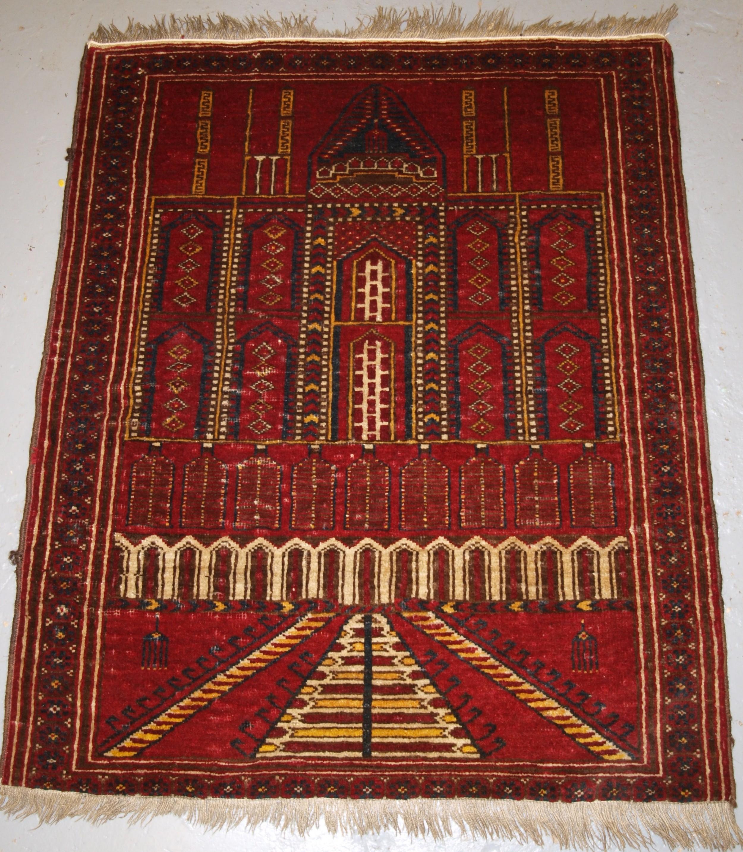 old traditional afghan kizil ayak mosque prayer rug circa 1920